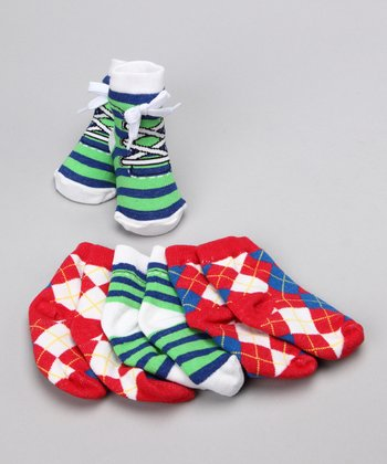 Stripe & Argyle Socks Set