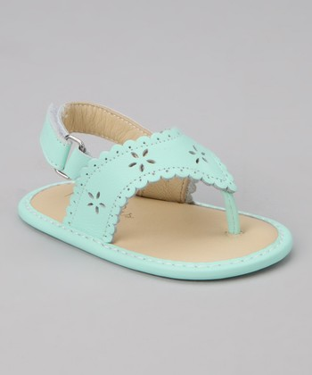 Mint Green Scalloped Eyelet Sandal