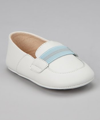 White & Sky Blue Stripe Loafer