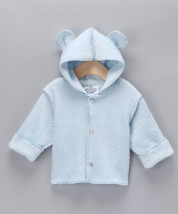 Baby Blue Snap-Up Hooded Jacket - Infant