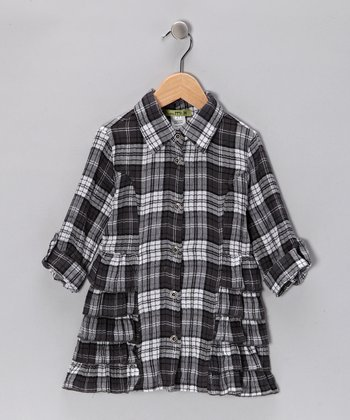 Gray Plaid Shirt Dress - Girls