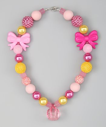 Pink & Yellow Bow Bead Necklace