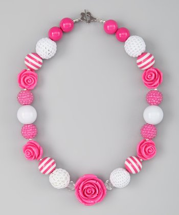 Pink & White Stripe Rose Bead Necklace