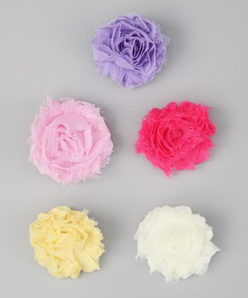 Pink & Purple Shabby Flower Clip Set
