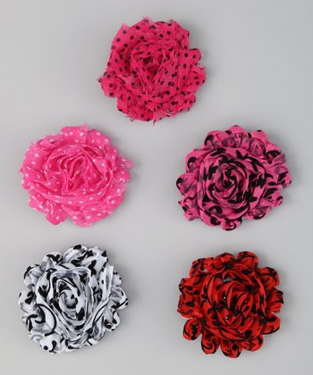 Hot Pink & Red Damask Shabby Flower Clip Set