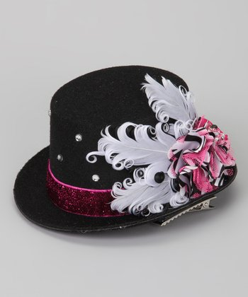 Black & Hot Pink Zebra Mini Top Hat