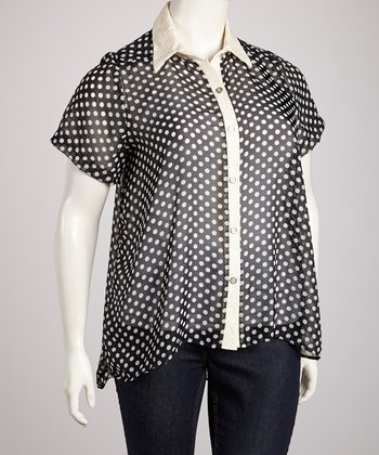Black Sheer Polka Dot Cutout Back Button-Up Top - Plus