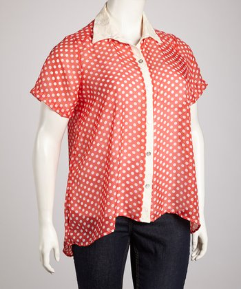 Coral Sheer Polka Dot Cutout Back Button-Up - Plus