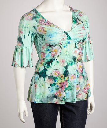 Aqua Floral Sublimation Three-Quarter Sleeve Top - Plus