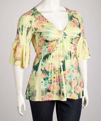 Light Yellow Floral Sublimation Three-Quarter Sleeve Top - Plus