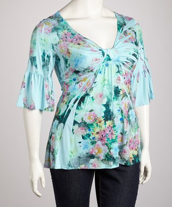 Mint Floral Sublimation Three-Quarter Sleeve Top - Plus