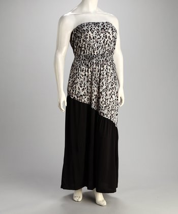 Black & White Leopard Strapless Dress - Plus