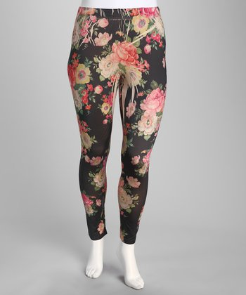 Khaki Floral Plus-Size Leggings