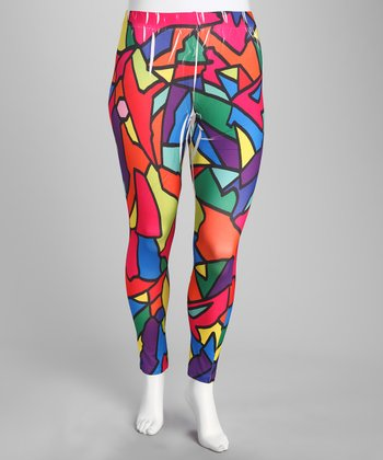 Pink Abstract Plus-Size Leggings