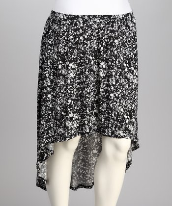 Black & White Abstract Hi-Low Skirt - Plus