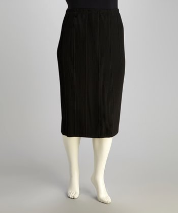 Black Pleated Pencil Skirt - Plus