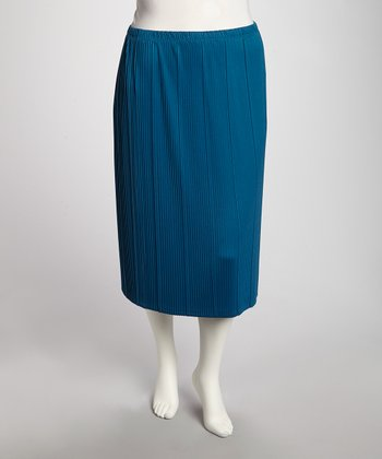 Teal Ribbed Pencil Skirt - Plus