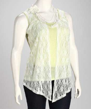 Lime Lace Plus-Size Layered Tank