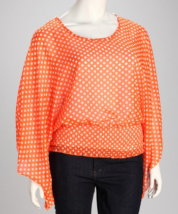Orange Sheer Polka Dot Plus-Size Top