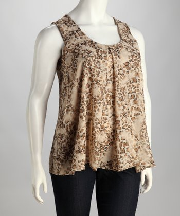 Brown Animal Swing Top - Plus