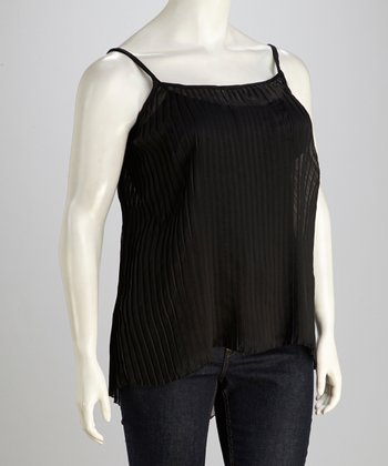 Black Semi-Sheer Tank - Plus