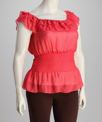 Coral Sheer Ruffle Top - Plus