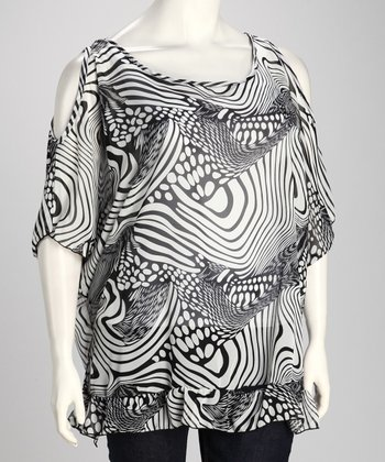 White & Black Swirl Tunic - Plus