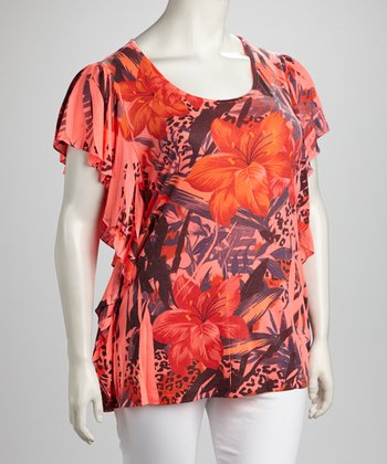 Coral Floral Plus-Size Angel-Sleeve Top