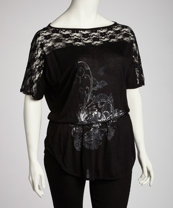 Black Sheer Lace Gathered-Waist Top - Plus