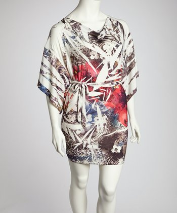 White Sublimation Cape-Sleeve Dress - Plus