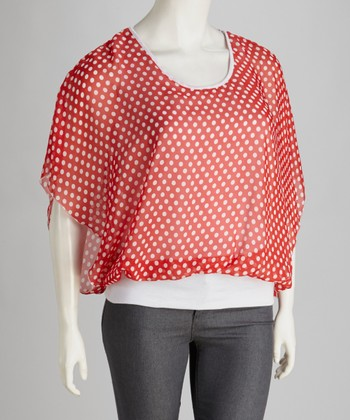 Red & White Sheer Polka Dot Cape-Sleeve Top - Plus