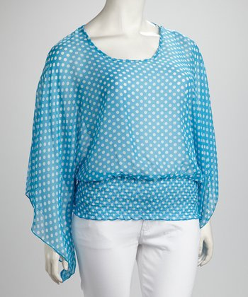 Aqua Polka Dot Plus-Size Top