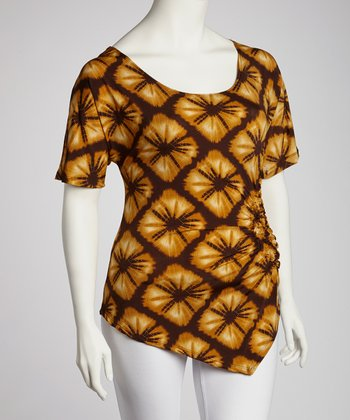 Mustard & Brown Abstract Gathered Top - Plus