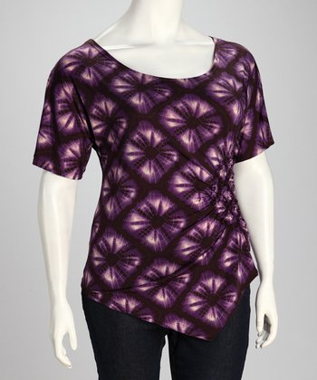 Purple Ikat Gathered Top - Plus