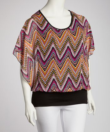 Orange & Fuchsia Zigzag Cape-Sleeve Top - Plus