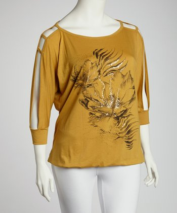 Mustard Abstract Cutout Long-Sleeve Top - Plus