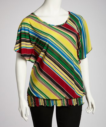 Yellow & Red Diagonal Stripe Angel-Sleeve Top - Plus
