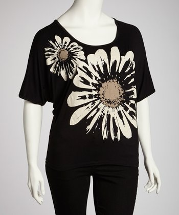 Gray & White Daisy Scoop Neck Top - Plus