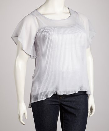 Silver Accordion-Pleat Top - Plus