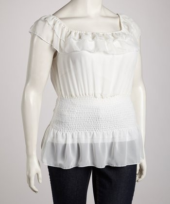 Ivory Ruffle Angel-Sleeve Top - Plus