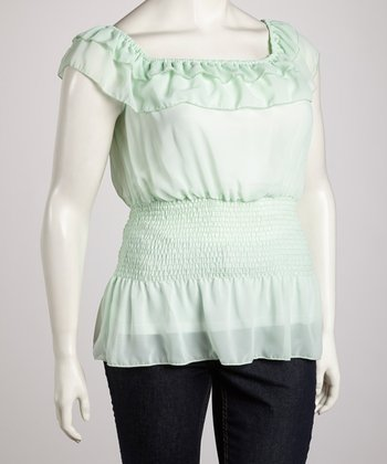 Mint Aqua Ruffle Angel-Sleeve Top - Plus