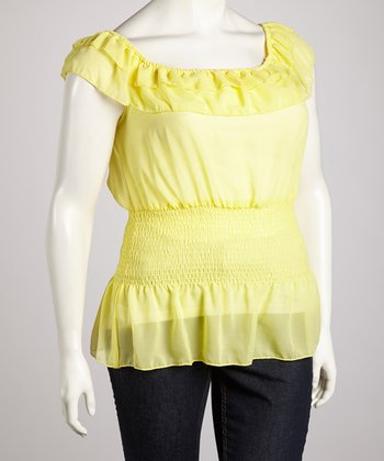 Yellow Ruffle Angel-Sleeve Top - Plus