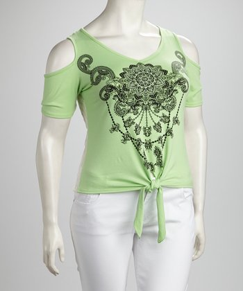 Lime Filigree Tie-Waist Cutout Top - Plus