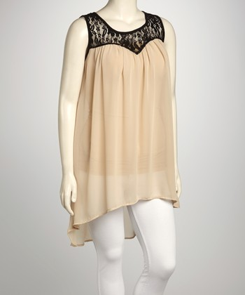 Beige Sheer Lace Sleeveless Hi-Low Tunic - Plus
