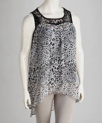 White & Black Animal Hi-Low Tunic - Plus