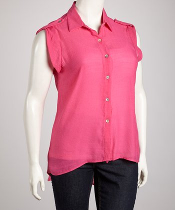 Fuchsia Surplice Back Button-Up Top - Plus