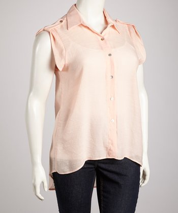 Peach Surplice Back Button-Up Top - Plus