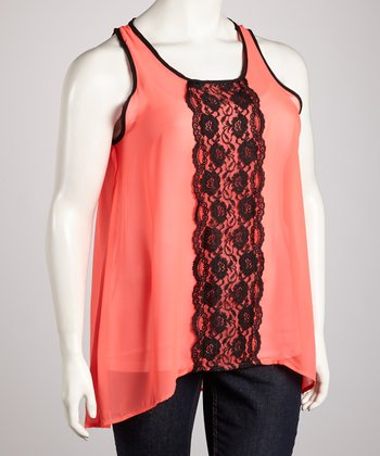 Coral & Black Lace Sheer Sidetail Tank - Plus