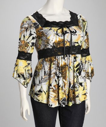 Yellow & Black Floral Plus-Size Bell-Sleeve Top