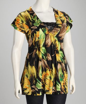 Yellow & Black Floral Plus-Size Babydoll Top